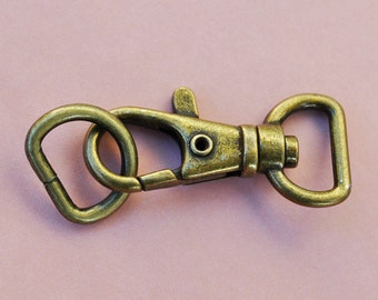 FREE SHIPPING--20 of 1.5 inch with 1/2 inch Loop End Anti Brass Swivel Clasps Lobster Claw Hooks and 20 of 1/2 inch Anti Brass D-rings