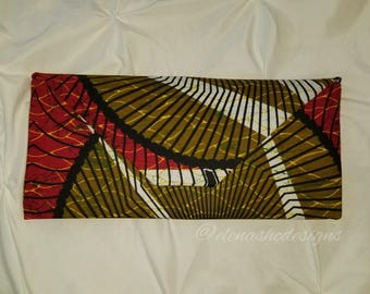 African Print Oversized Envelope Clutch (Red)