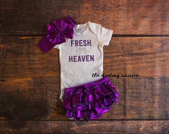 Fresh from Heaven infant girl bodysuit, baby girl bodysuit, baby girl outfit, purple bloomers, newborn outfit, newborn coming home outfit