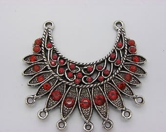 1 ethnic chandelier with Littles Red Crystal silver plated brass charms
