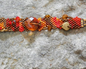 Queen of Hearts - Free Form Peyote Stitch Beaded Bracelet - Bead Weaving - DISCOUNTED