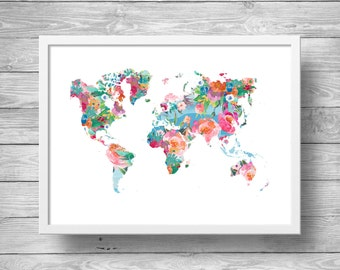 World map, Printable art, Wanderlust, Floral Watercolor world map Geography print Travel decor art Printable wall art Wanderlust travel art
