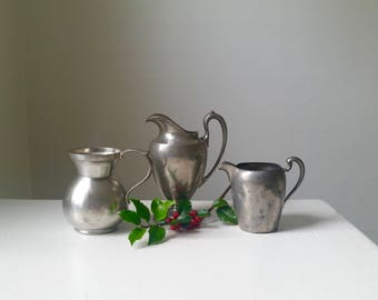Three Small Antique Pewter Creamers . 3 Small Silver Pitchers . Classic Home Decor . Farmhouse Style . Rustic Cabin . Tabletop . Serving