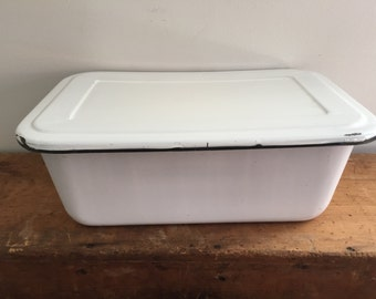 Vintage Enamelware Refrigerator Bin with Lid Top Black and White