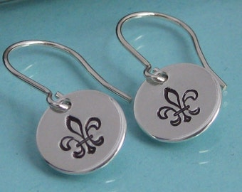 Simple Silver Stamped Earrings- Round READY TO SHIP
