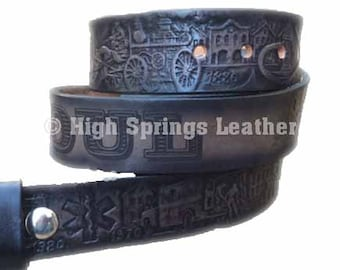 Firefighter Leather Name Belt in gray black