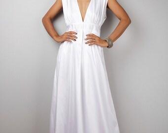 Sleeveless White Dress, Long White Cotton Maxi dress,  Bridesmaid dress, White evening dress, Holiday dress, Handmade women's dress