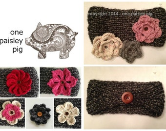 Knit Headband with Interchangeable Flower Collection - 2 PATTERNS