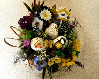 Easter Decor Easter Table Decoration Easter Nest Table Decoration Easter Easter Eggs Spring Composition Kitchen Composition