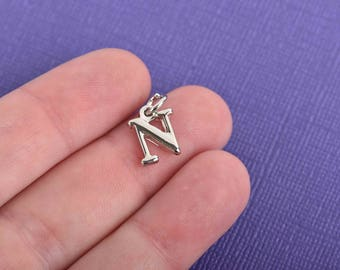 "4 NU Letter N Silver Plated Charms, Greek Letter, Sorority Sister Charms, Silver Plated Pendant, 1/2"" tall, includes jump ring, chs3011"