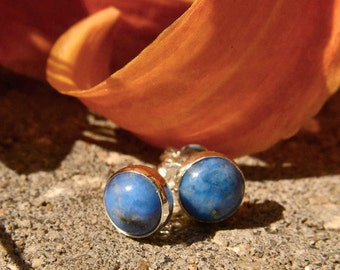 Denim Lapis 6mm Stud Earrings in Sterling Silver, September Birthstone, Bridesmaids Gifts