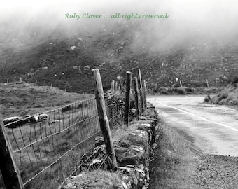 Mountain Fog, Co. Kerry, IRELAND, Black and White Landscape, Rustic Country Photo, Ring of Kerry, Irish Photography, Eerie Fog, Pub Decor