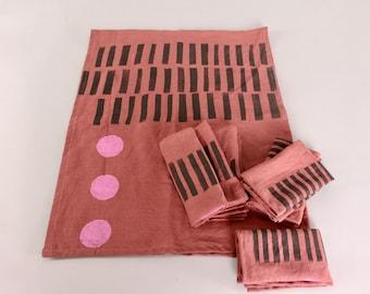 Linen Block Printed Table Runner and Set of 6 Linen Napkins