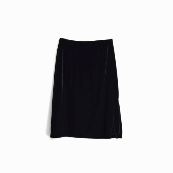 Vintage 90s Black Velvet Skirt / Side Slit Skirt - women's medium
