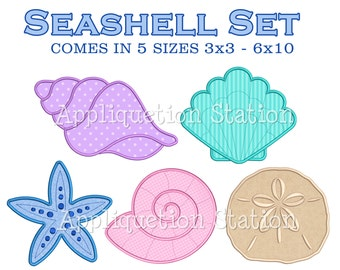 Seashell Set Applique Machine Embroidery Design sea shell starfish sand dollar INSTANT DOWNLOAD
