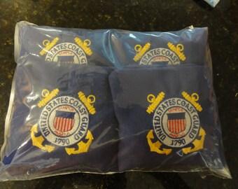 Embroidered United States Coast Guard Corn Hole Bag ACA/ACO Specs (Set of 4)