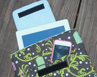 Ready to Ship Dark Grey Art Deco  Print Ipad Sleeve With Light Blue Lining, Front Pocket and Velcro Closure