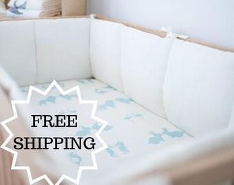 Linen crib bumpers – 4 side white cot bumper – bumper with laces - natural baby bedding - lin Lit bébé choc