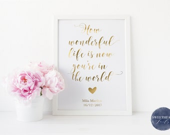 How Wonderful Life Is Now You're In The World, Real Foil Print, Baby Nursery, Nursery Decor, Baby Boy, Baby Girl,
