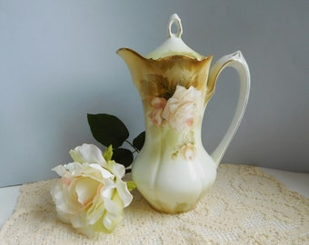 Vintage porcelain chocolate pot Vintage rose chocolate pot