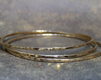 Set of 3 14K Gold Filled Bangle Bracelets - Stacking Style - Gold Filled Bracelets - Rustic Bangle - Wrist Jewellery
