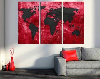 Raffia beige silver world map canvas print 3 panel split red and black world map canvas print 3 panel split triptych wall gumiabroncs Images