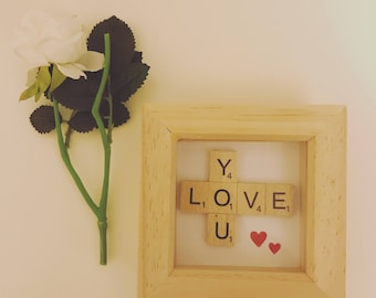Love you scrabble art picture frame