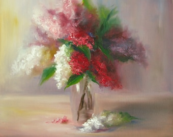 Lilac flower painting ORIGINAL lilacs still life 18*18 inches, OIL on canvas, Fine art, Gallery quality