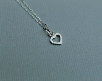Tiny open heart necklace / Sterling silver heart necklace / 925 sterling silver chain / Layering necklace / delicate chain / cute necklace