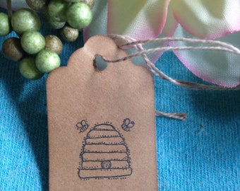 Small Bee Hive Stamped Hang Tags Coffee Stained Strung Bee Skep Gift Tags