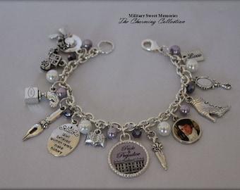 Jane Austen Lavender and White Beaded Jewerly, Jane Austen Pride and Prejudice Book Theme Bracelet, Jane Austen Jewelry, Jane Austen Charms