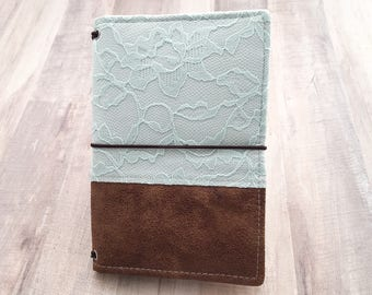 Personal Size Leather and Baby Blue Lace Fauxdori Travelers Notebook, TN Fabricdori