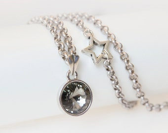 Pendant Necklace with a Silver-Gray Swarovski Crystal Hung on an Antique Silver Chain. Swarovski crystallized. STAR Necklace.