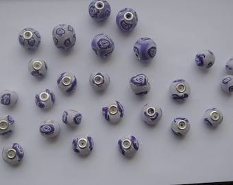 Purple Rose, 27 beads polymer clay