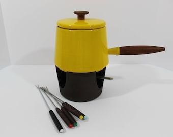 Mid Century Modern, vintage, yellow fondue set