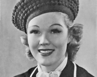 Vintage Crochet Hat PDF Pattern Beret Roundabout 1930s Head Size 22 Inches
