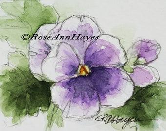 Original Watercolor Painting Purple Pansy Viola Flower Miniature Floral Garden Pansies