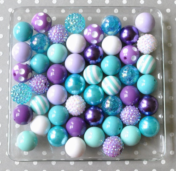 20mm Bead Beads: 20mm Bubblegum Beads Turquoise Aqua And Purple Chunky Bead