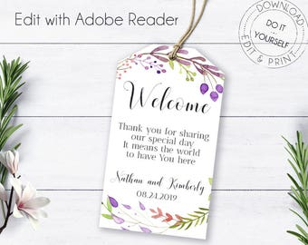 Stripes wedding favor tags editable templates diy wedding floral wreath wedding welcome tag roses printable editable templates boho watercolor flowers solutioingenieria Choice Image