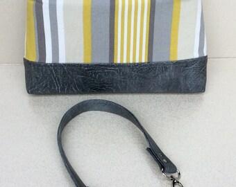 Handmade bag. Greys, mustard. Stripe. Twist lock. Evening bag, clutch. Faux leather. Made in Scotland.
