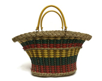 French Vintage Wicker and Plastic Coated Basket.