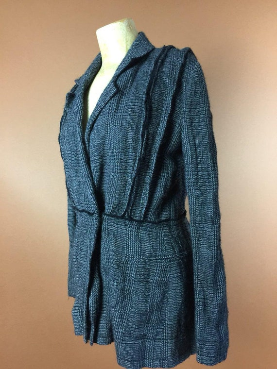 Designer Women's 90's Jacket Feretti Alberta Blazer Rare Sleeve Fall Warm Small Gray Blazer Fitted Jacket Vintage Checkered Long Italy Wool 76dEq6
