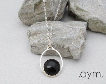black onyx pendant necklace, long layering sterling silver chain necklace, everyday minimalist adjustable, gift for her mom wife sister aunt