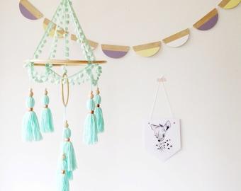 Mint baby mobile, nursery decor, tassel mobile, boho nursery, new baby gift, pompom decor, crib mobile, cot mobile, bohemian decor, tassels