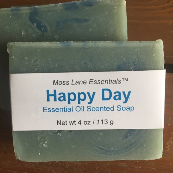 Happy Day Essential Oil Scented Cold Process Soap with Shea Butter--Clary Sage, Eucalyptus, Orange and Bergamot