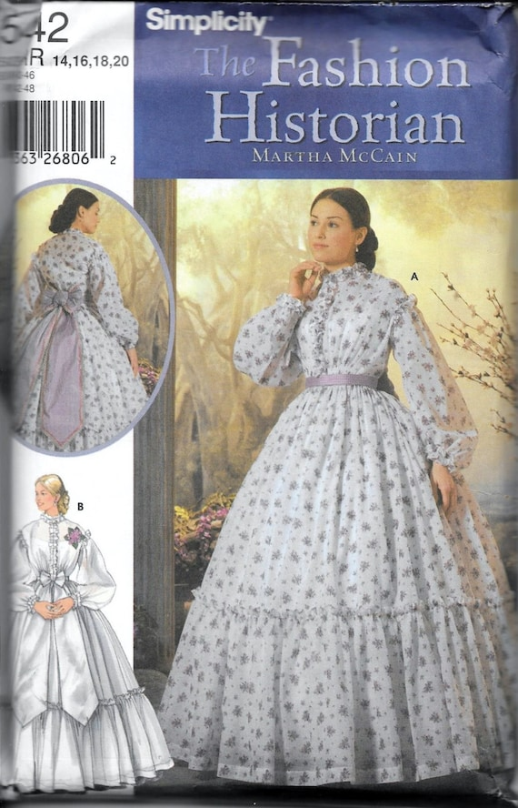 Simplicity 5442 Southern Belle Dress Pattern Costume Historian Civil ...