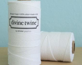 Bright White Twine, 240 yards / 219 m. Spool, Bakers Twine, Wedding Twine