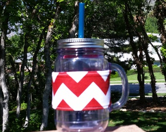 FREE SHIPPING UPGRADE with minimum -  Mason Jar cozy / mason jar sleeve / mason jar drink holder -- Bold Red Chevron