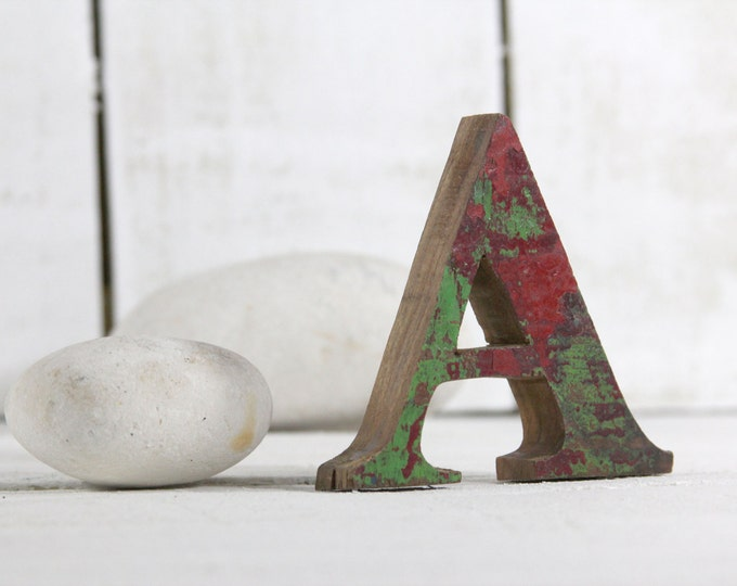 Beach Decor Wooden letter A Vintage Style Nautical by SEASTYLE