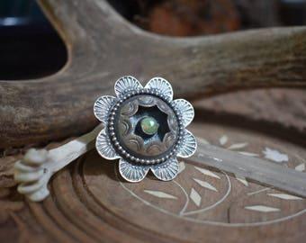 Desert Rose - Manassa Turquoise and Sterling Silver Handmade Artisan Silversmith Southwestern Bohemian Ring